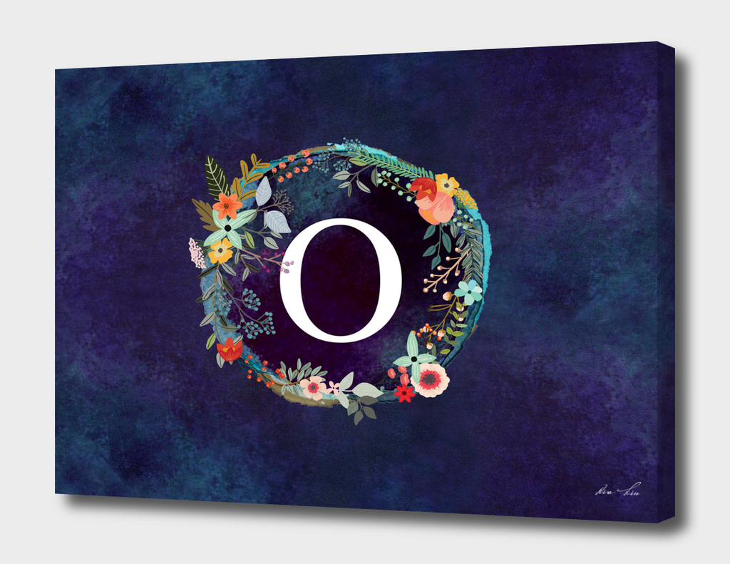Personalized Initial Letter O Floral Wreath Artwork