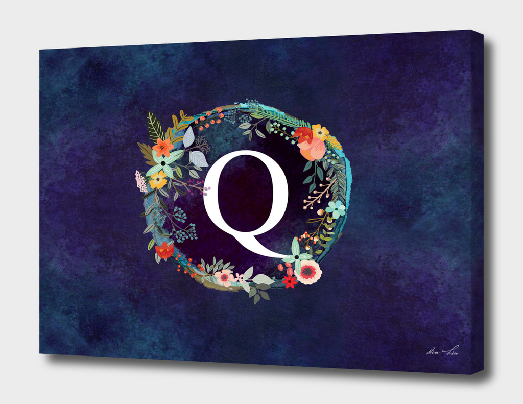 Personalized Initial Letter Q Floral Wreath Artwork