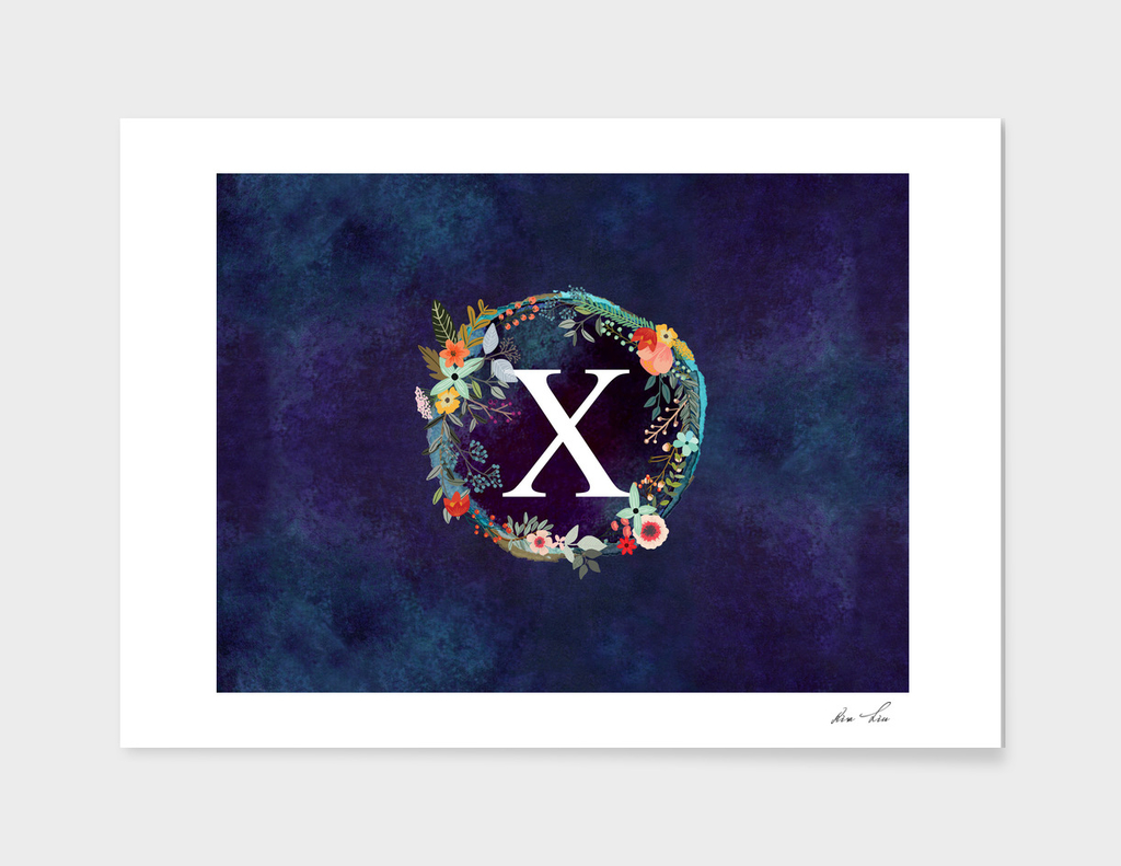 Personalized Initial Letter X Floral Wreath Artwork
