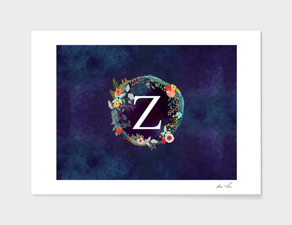Personalized Initial Letter Z Floral Wreath Artwork