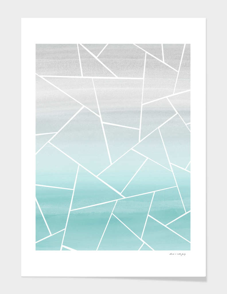 Soft Teal Gray Watercolor Geometric Glam #1 #geo #decor #art