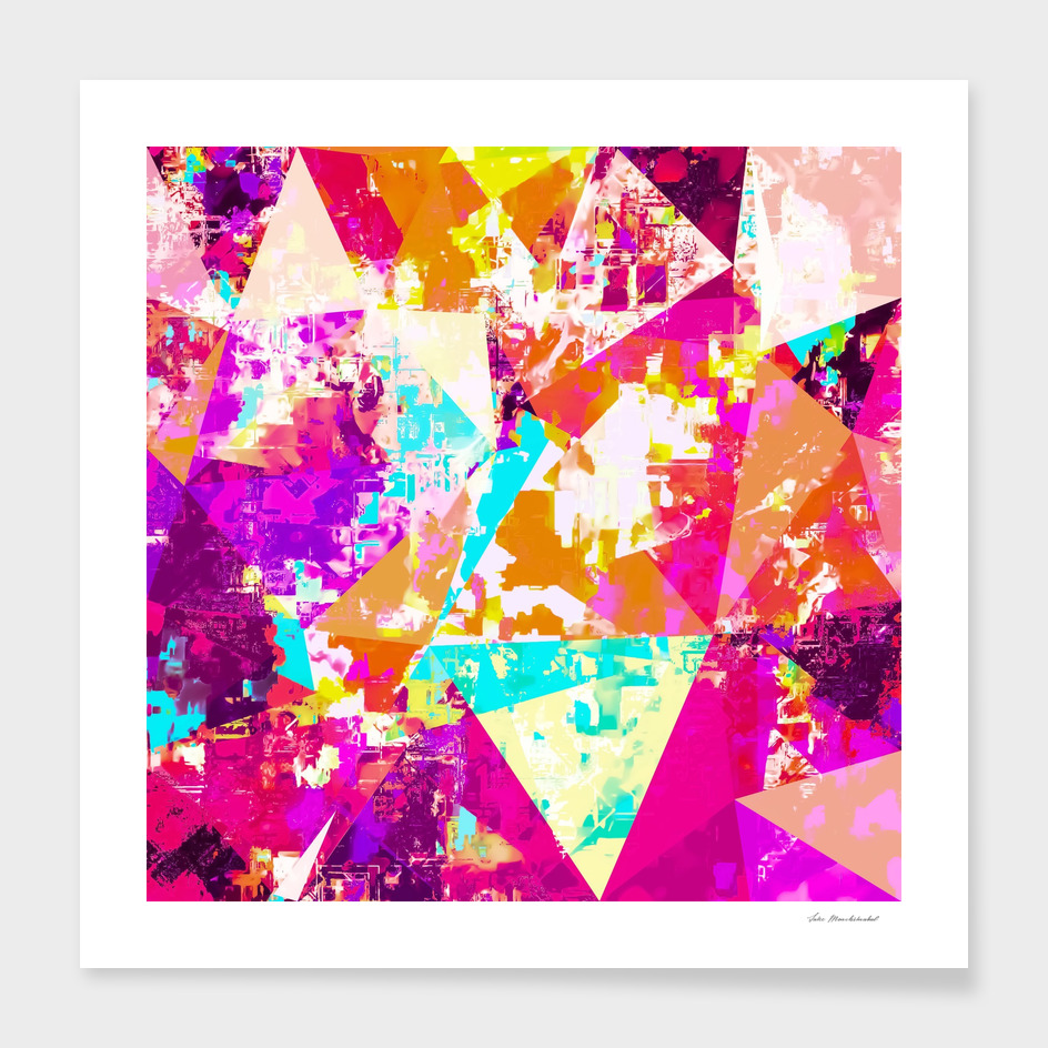 colorful geometric triangle abstract in pink blue orange