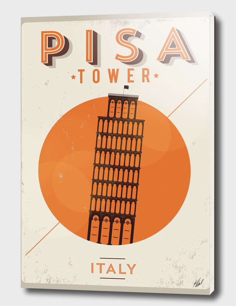 Vintage Pisa Tower Poster Design