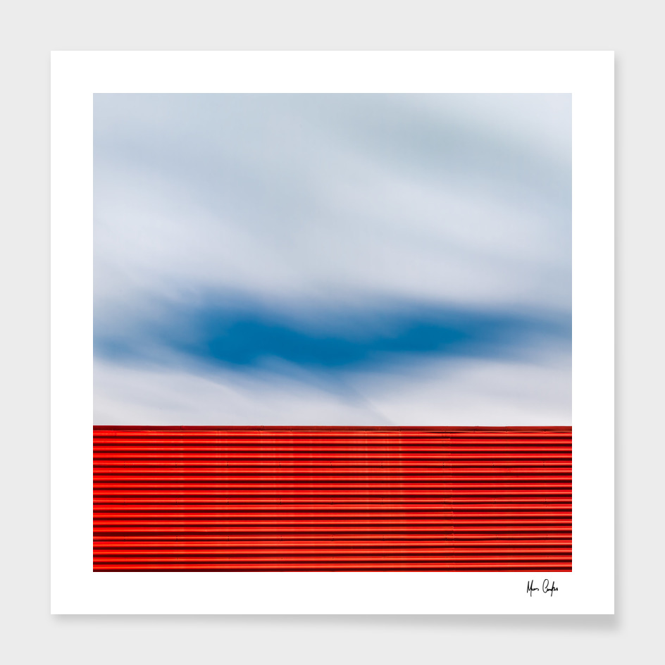 Red lines, sky.
