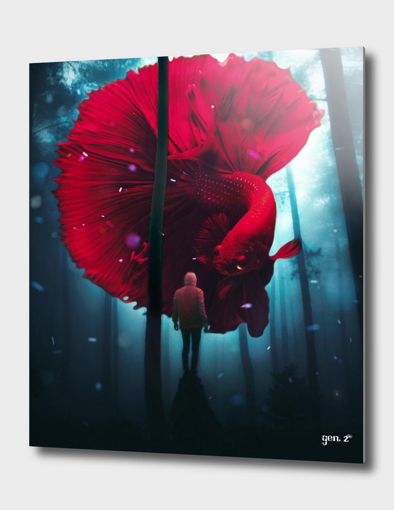 Amazing red halfmoon betta fish by GEN Z