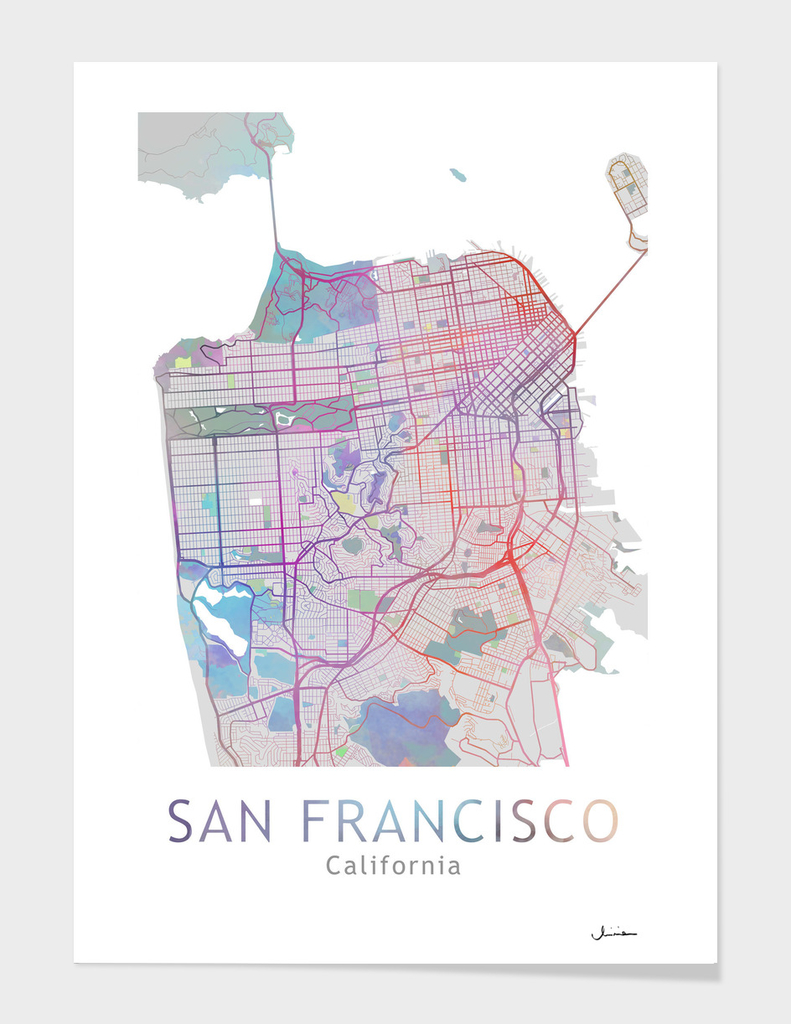 San Francisco City Map in Colors