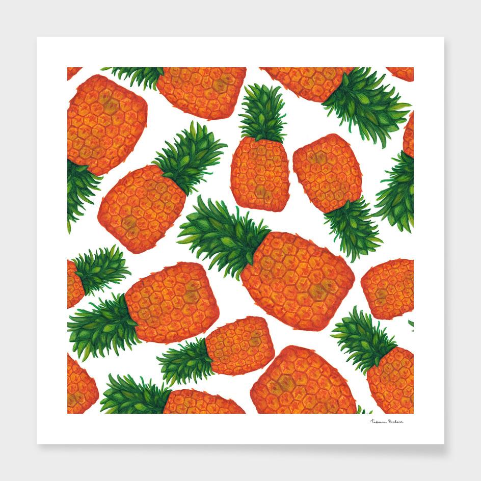 Bright juicy pineapple seamless pattern. Tropical fruit
