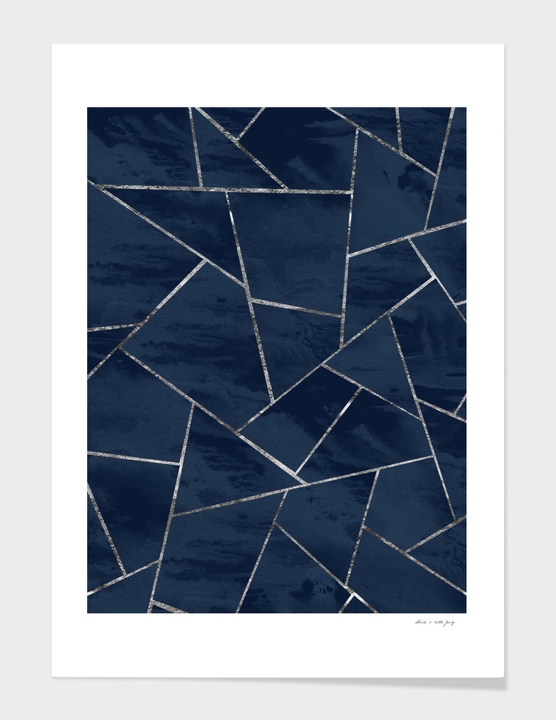 Midnight Navy Blue Ink Silver Geometric Glam #1 #geo #decor