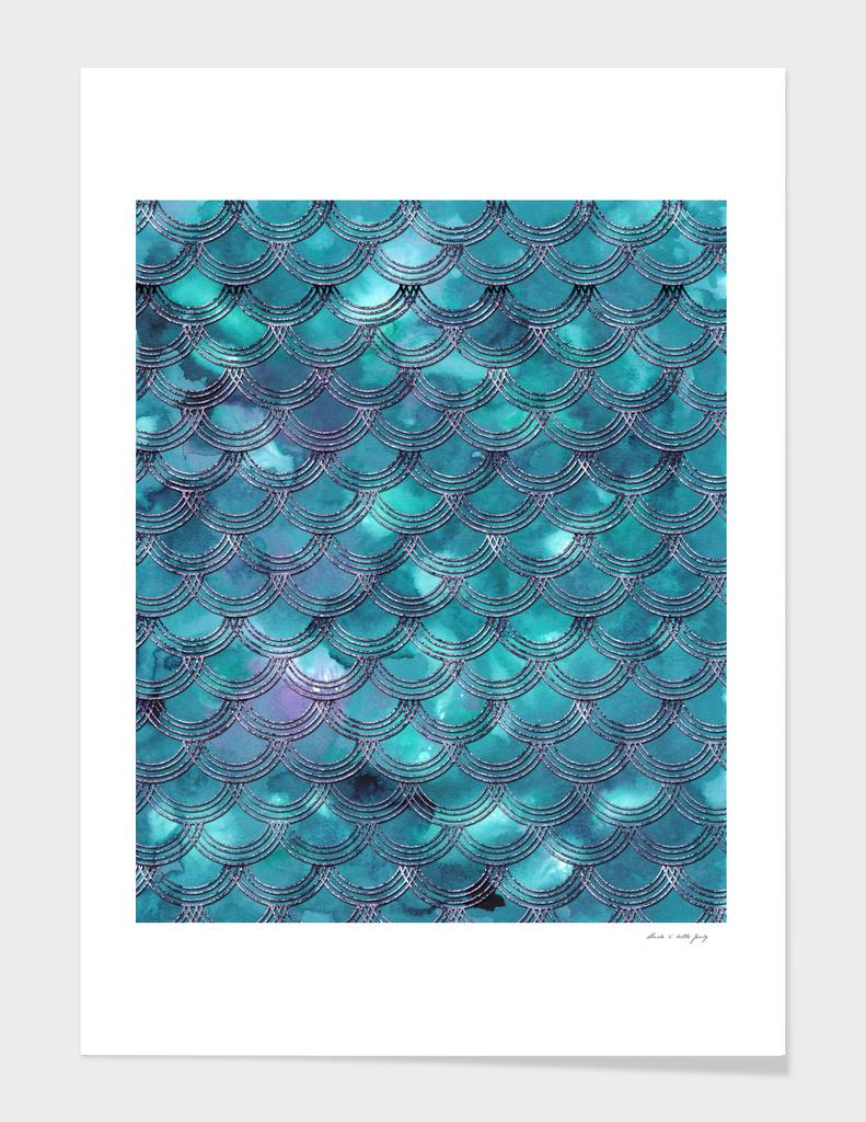 Teal Purple Mermaid Scales Glam #1 #shiny #decor #art