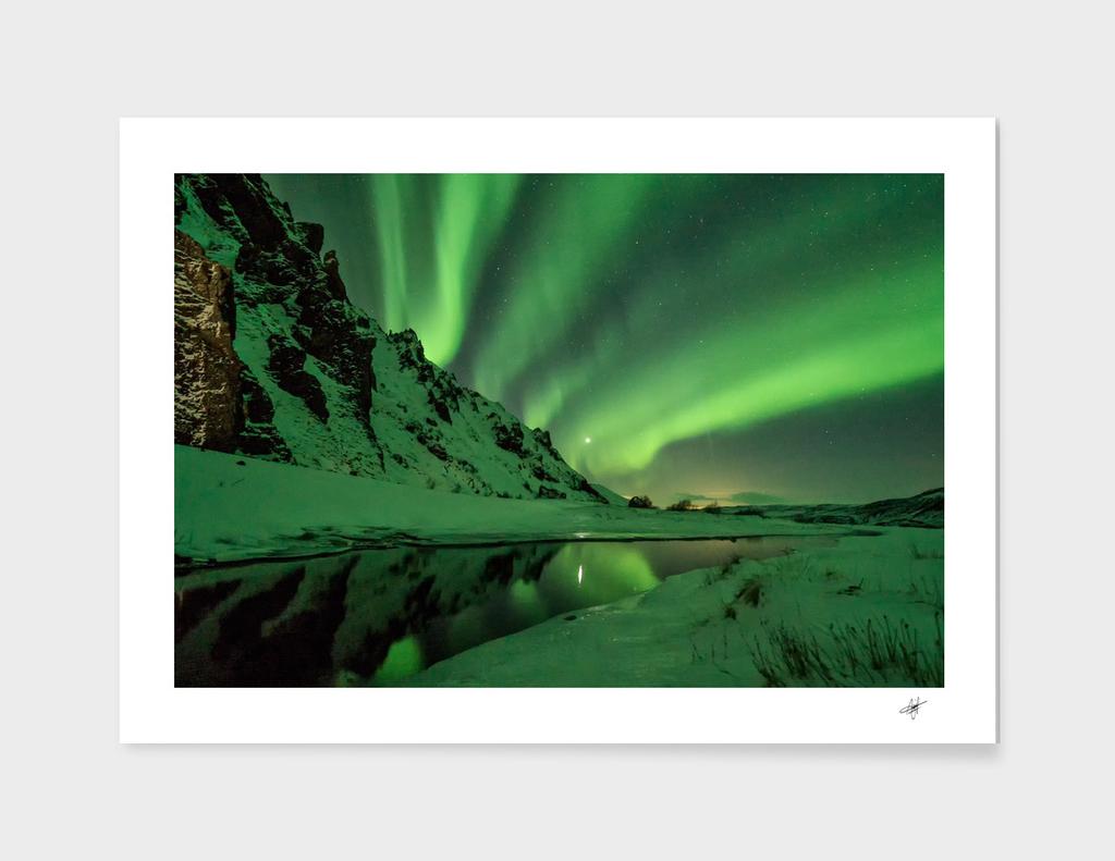 snow winter white cold weather green aurora