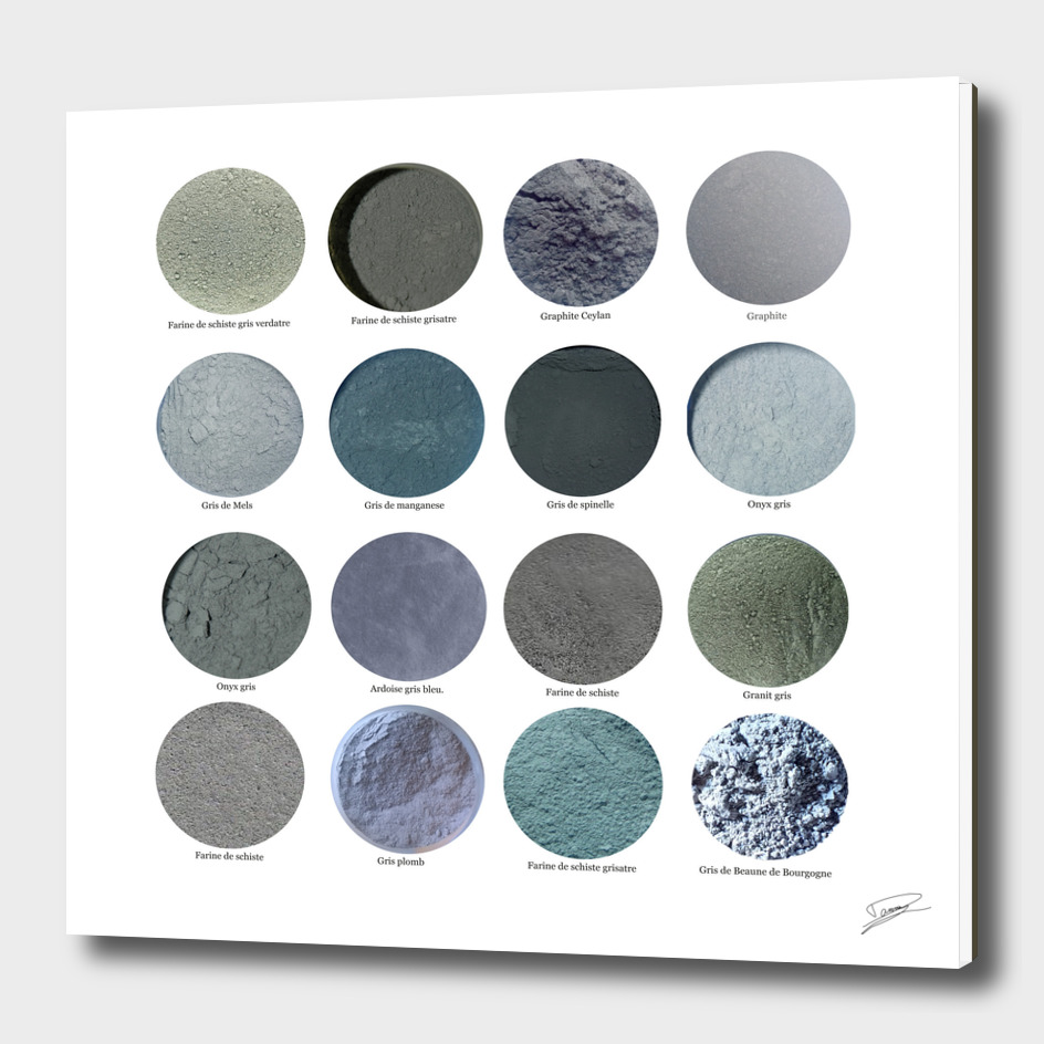 Pigments Gris. Gray pigments