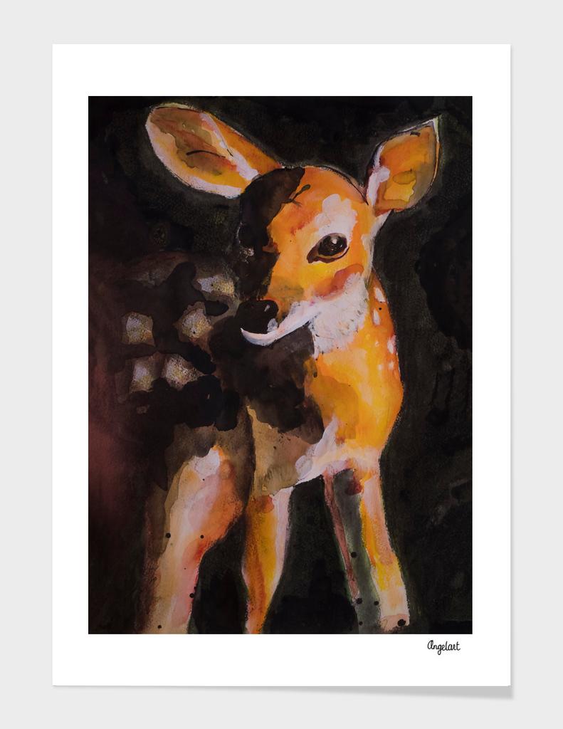 Print of a deer, special bird, forest animal illustration