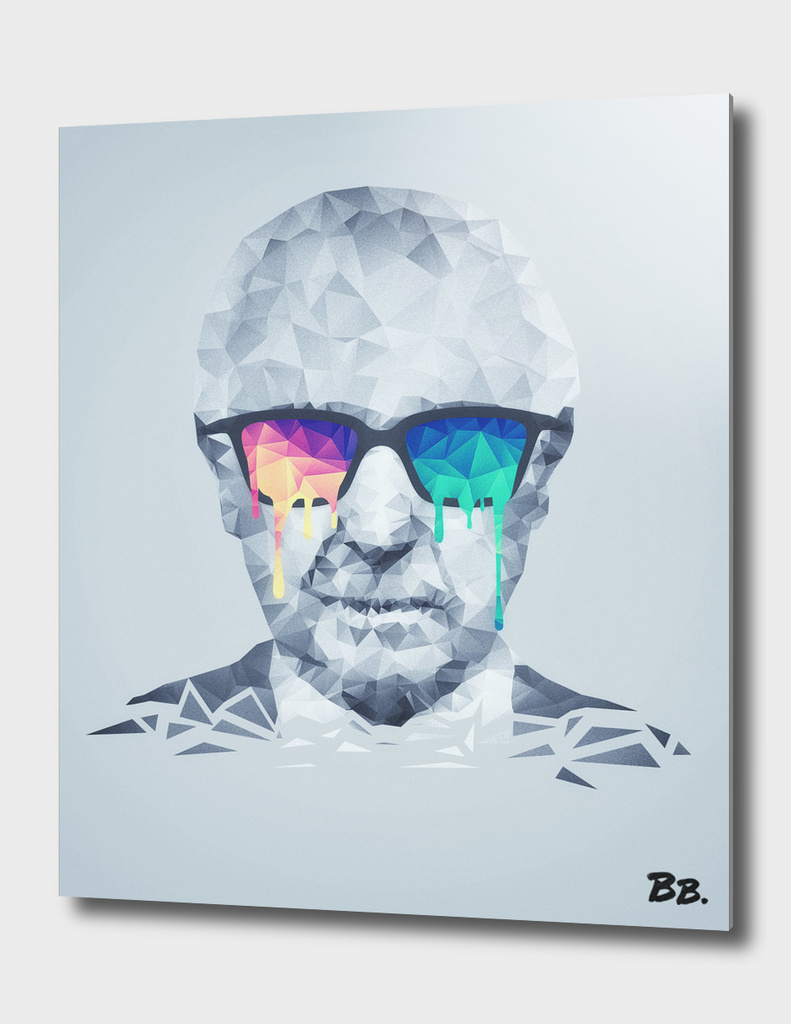 Albert Hofmann - Abstract  Psychedelic Low Poly Portrait