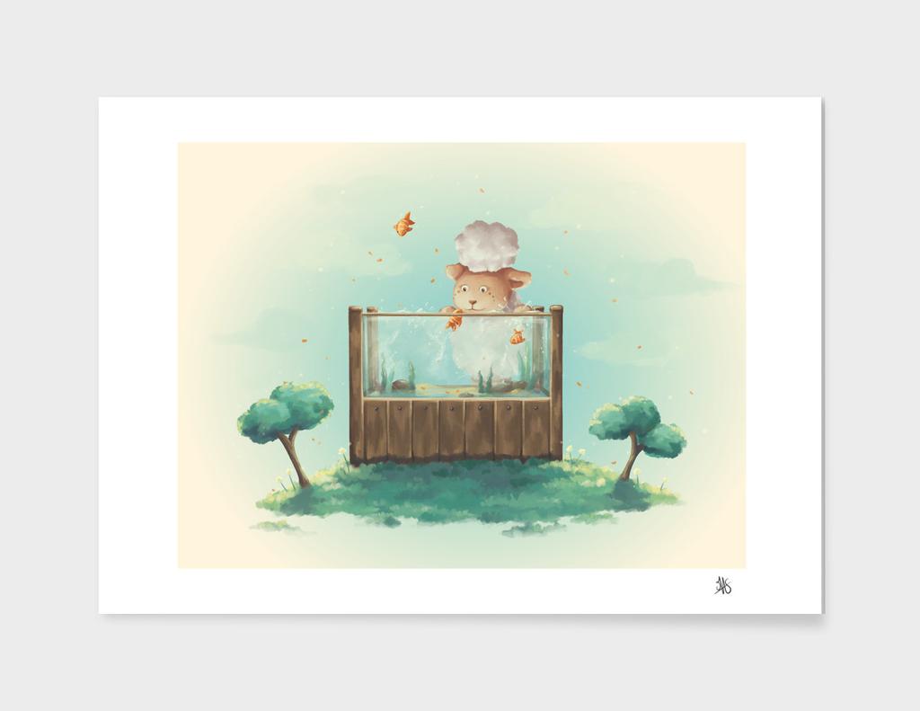 A sheep and a fantastic aquarium