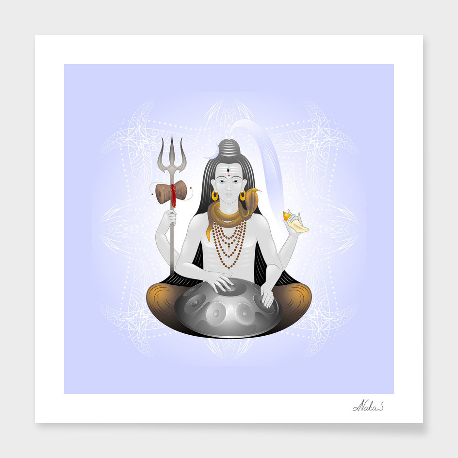 Lord Shiva with hang drum