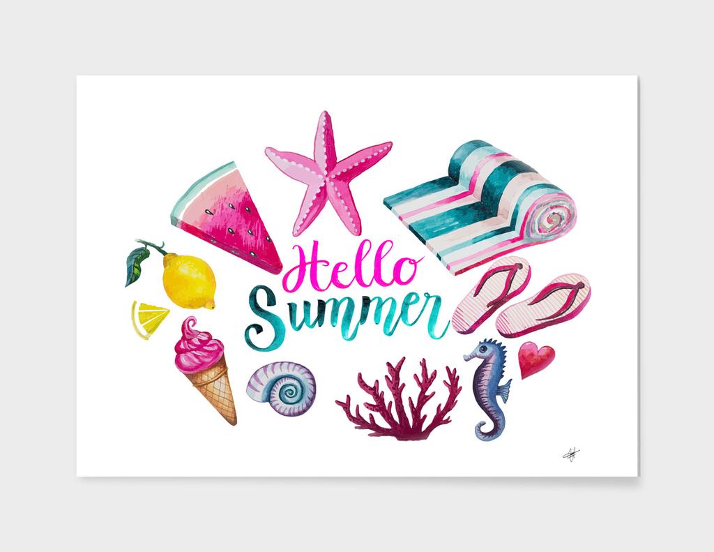 watercolour summer swimsuit ice