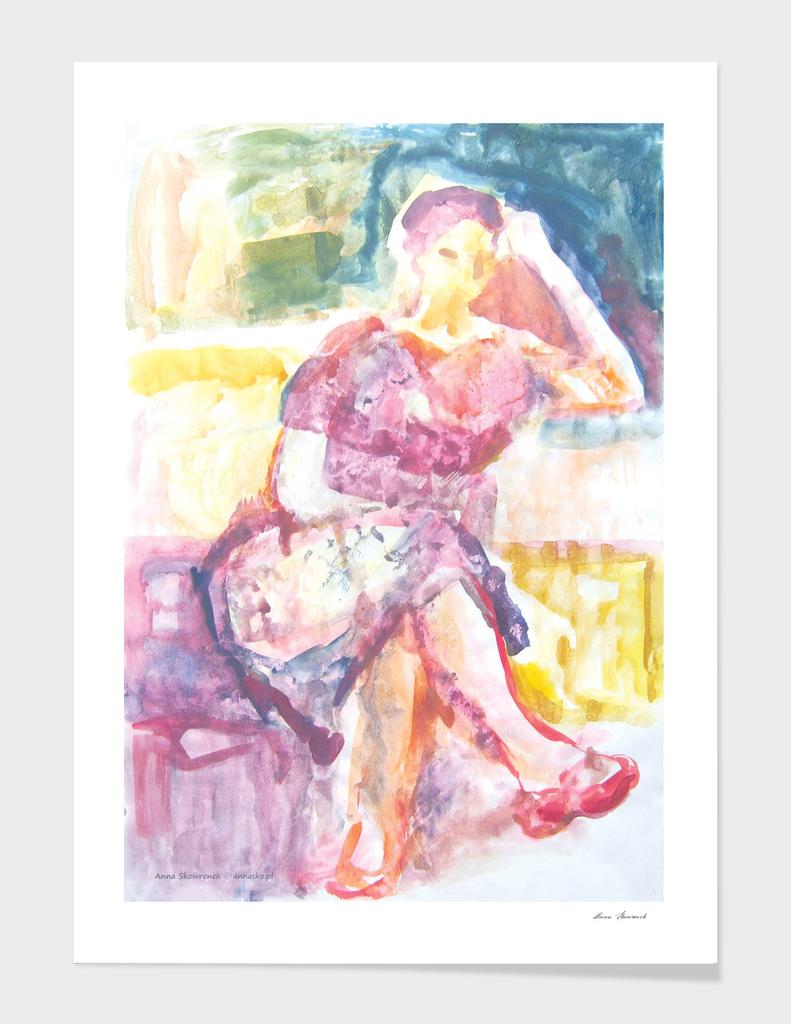 Sitting woman  watercolor
