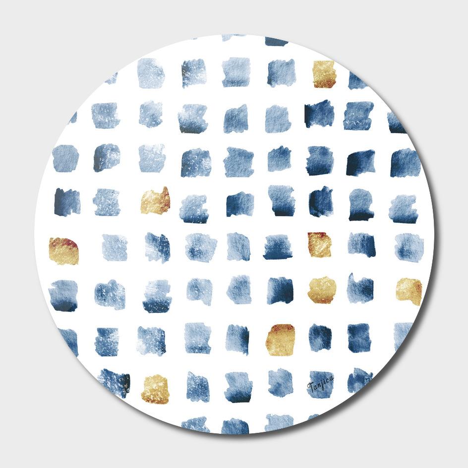 Watercolor Indigo Gold Geometrical Squares Pattern