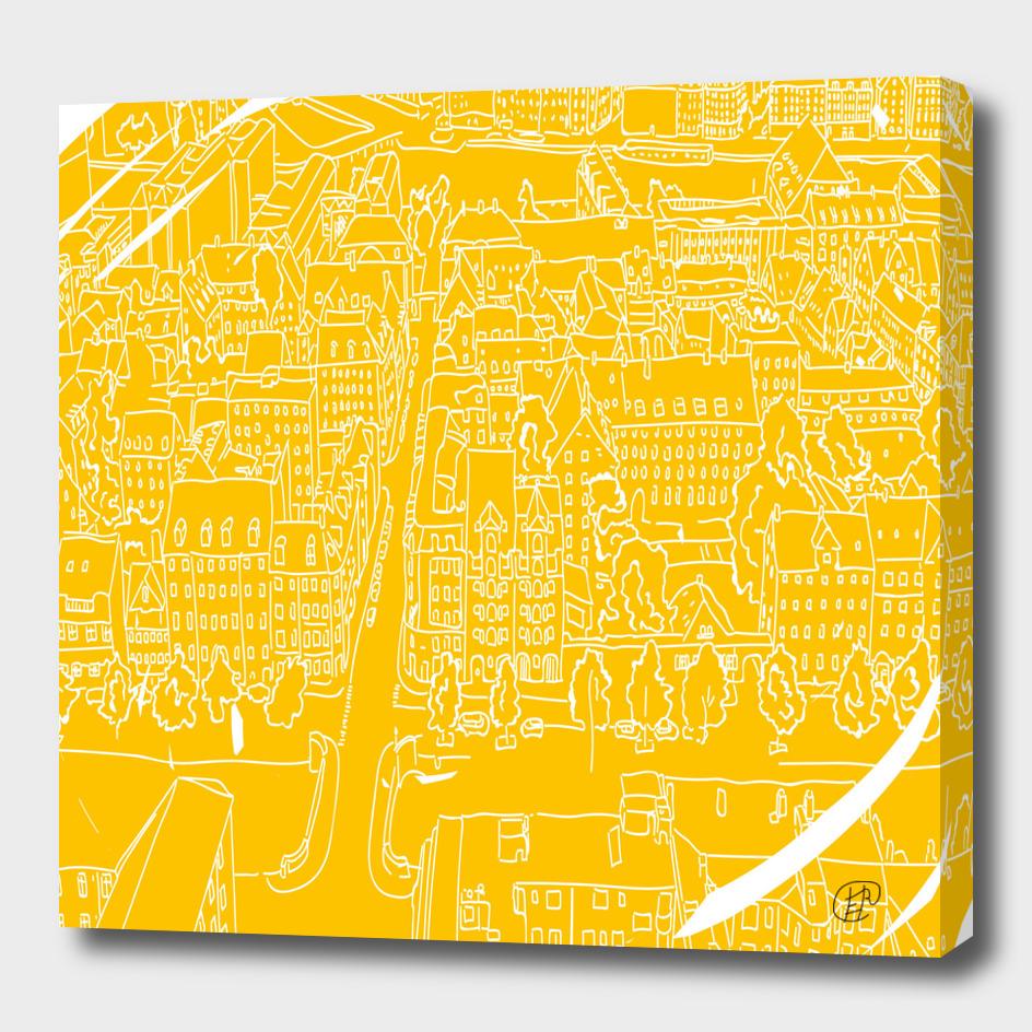 Capenhagen painted lines.  Sunny city. Architecture.