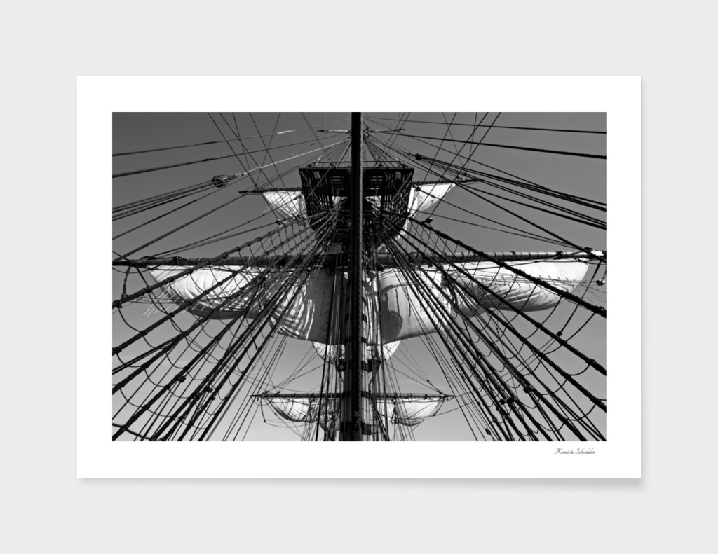 Reefed sail on a tall ship