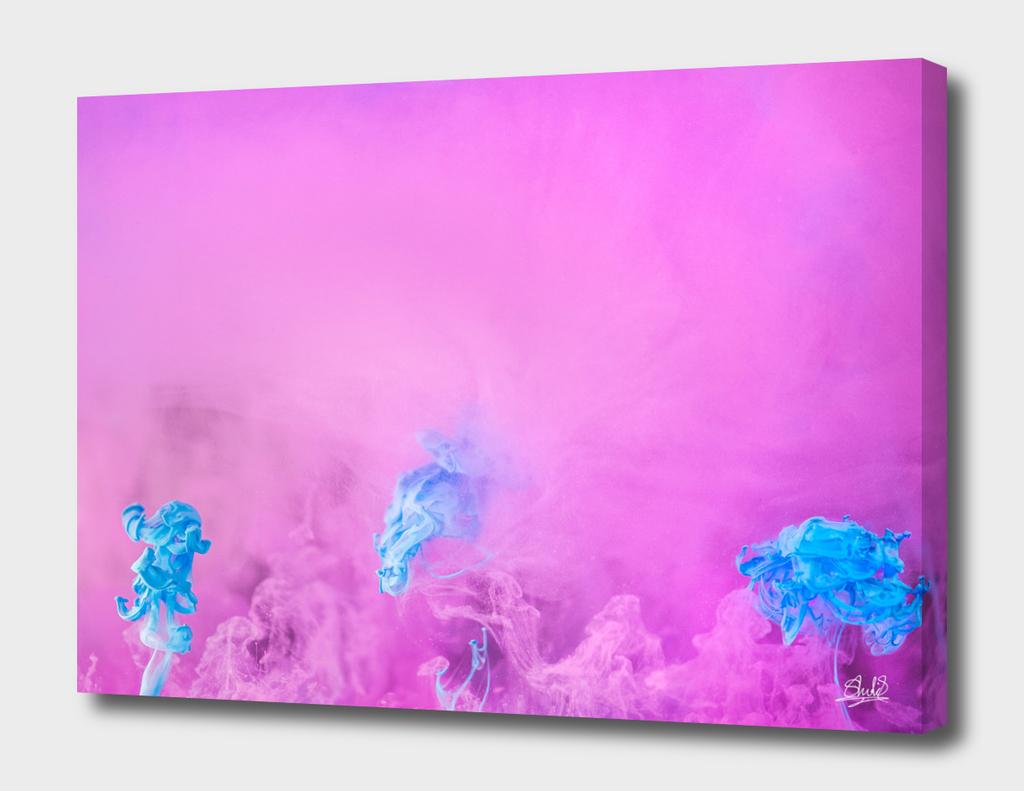 Ink Flower #1, Pink & Blue