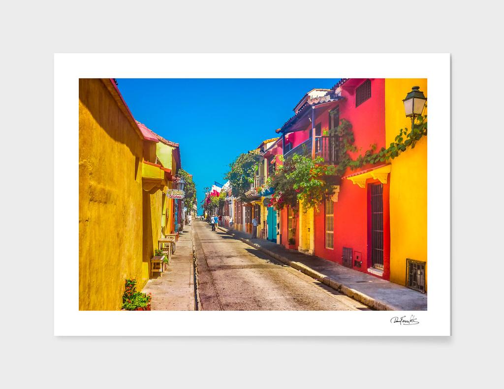 Traditional Street in Cartagena de Indias, Colombia