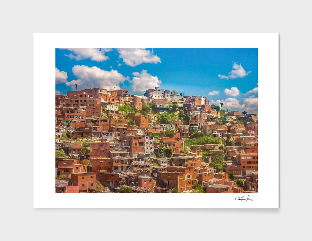 Favelas at Hill, Medellin, Colombia