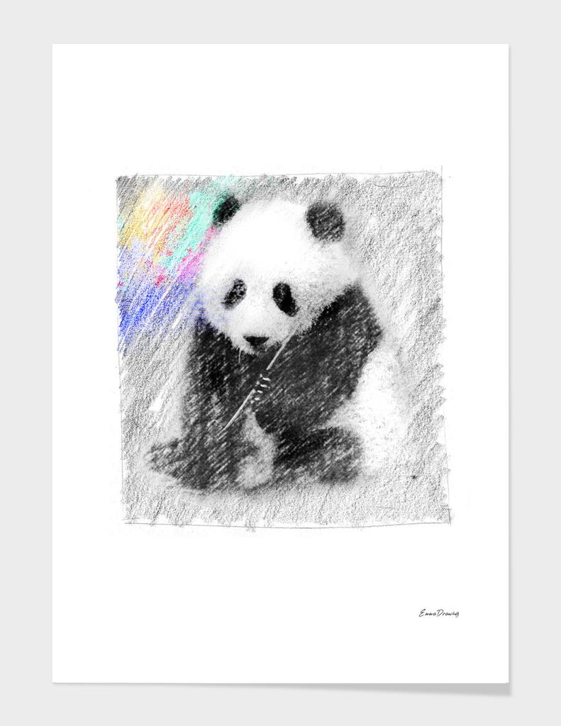 Panda: classic sketch, pastel drawing, colorful