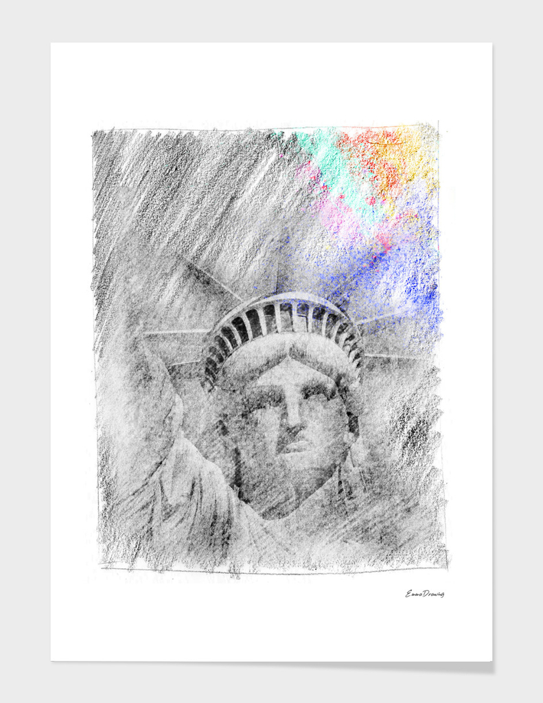 Statue of Liberty: classic sketch, pastel drawing, colorful