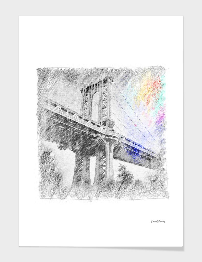 Manhattan bridge: classic sketch, pastel drawing, colorful
