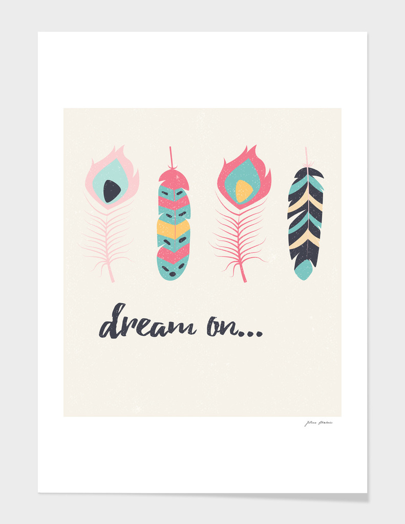 Dream on tribal feathers