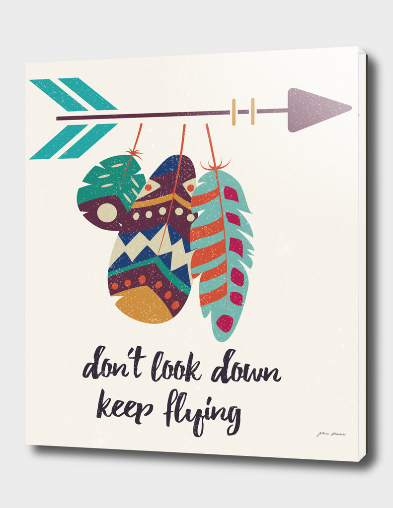 Don't look down, keep flying, tribal feathers