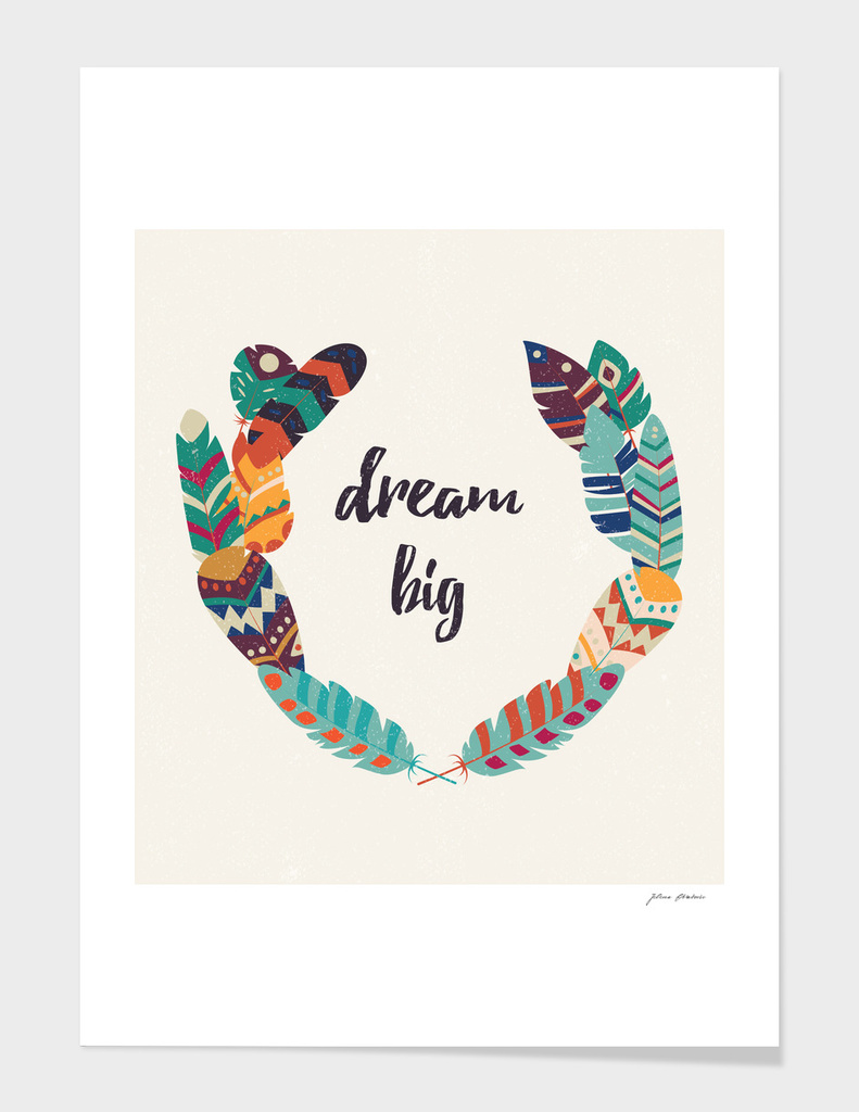 Dream big tribal feathers, wreath