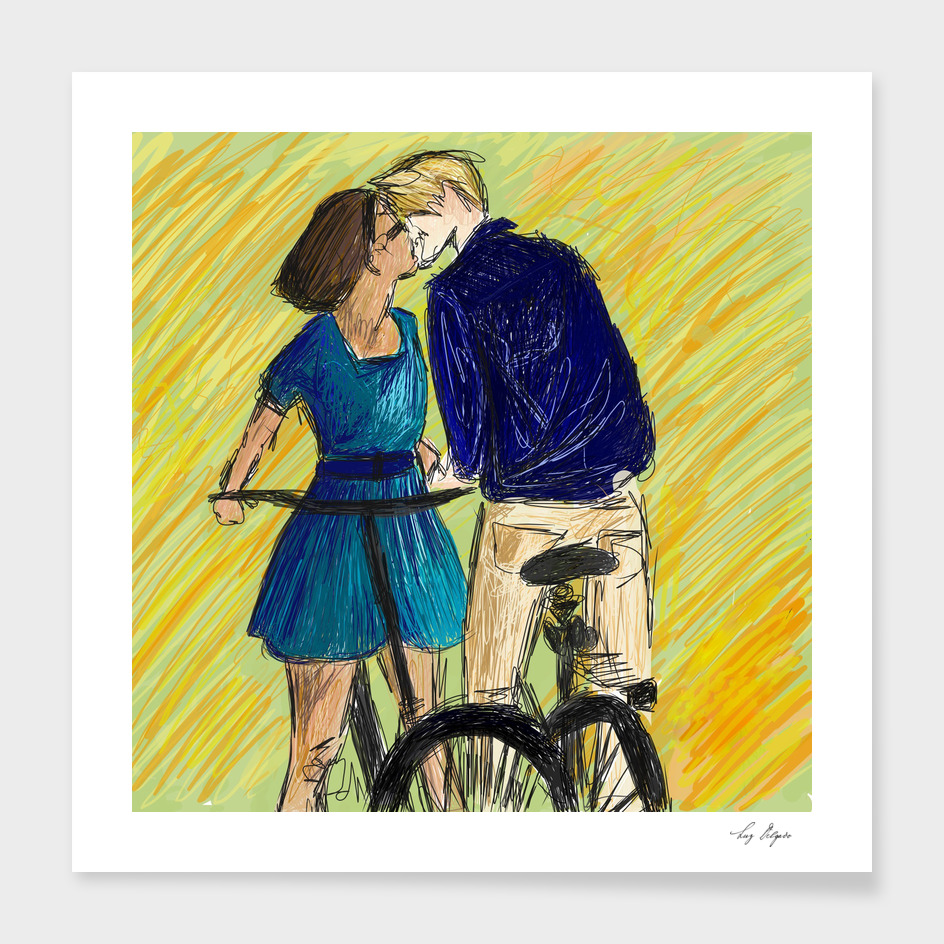 Lovers Bike Kiss