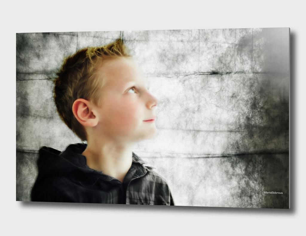 Portrait in grange texture
