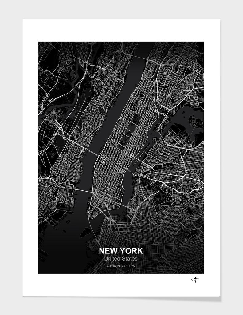 New york city map black