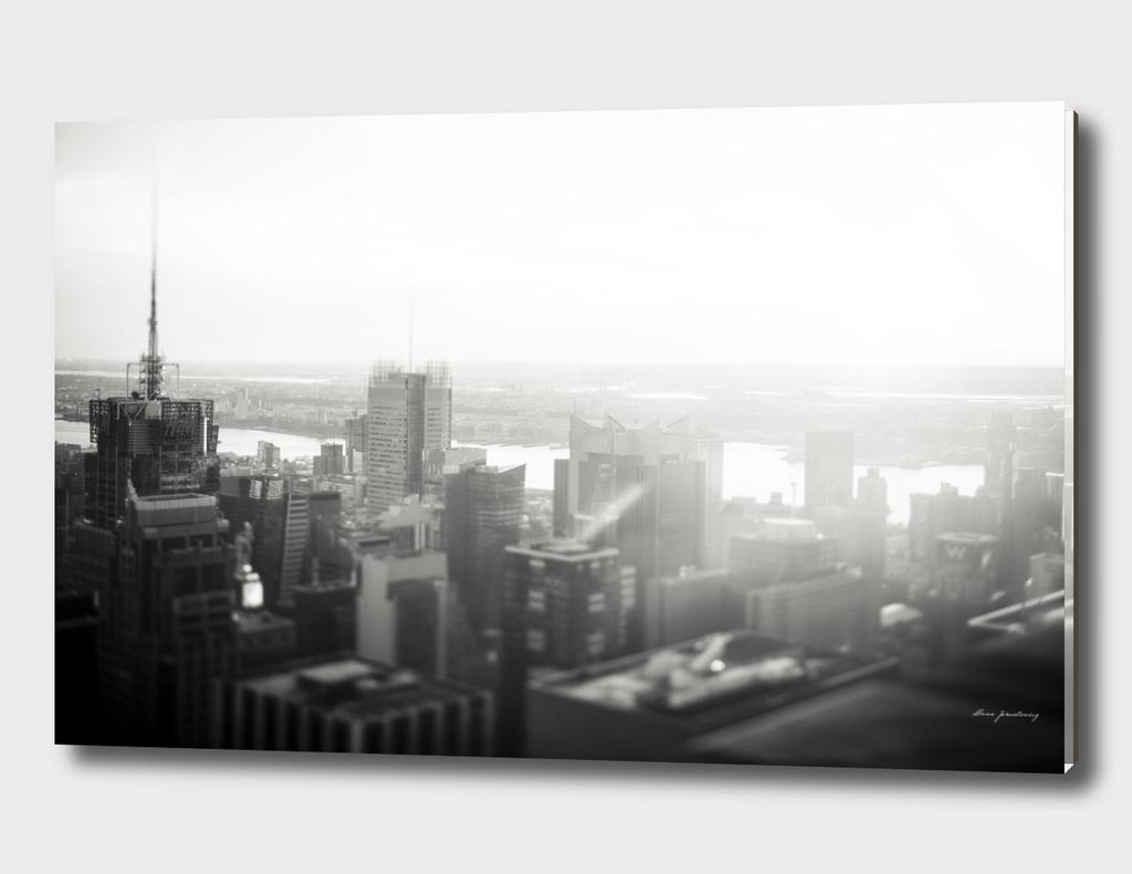NYC foggy skyline