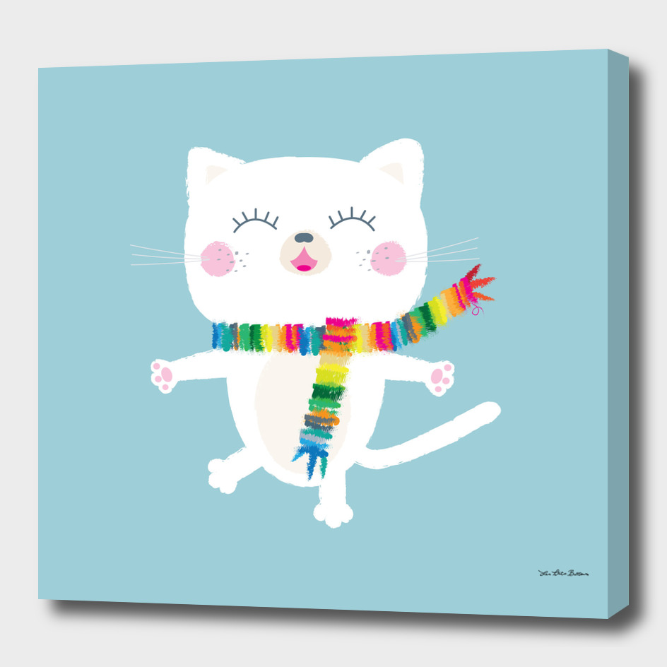 White Cat with colorful scarf