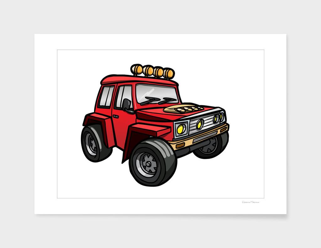 Cartoon red vehicle.