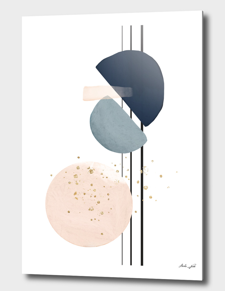 Abstract Study Blush and Navy Blue II