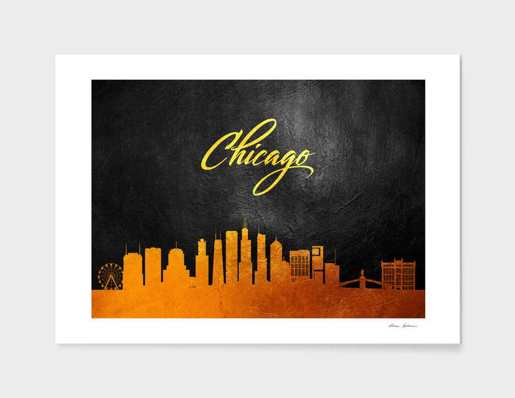 Chicago Illinois Gold Skyline