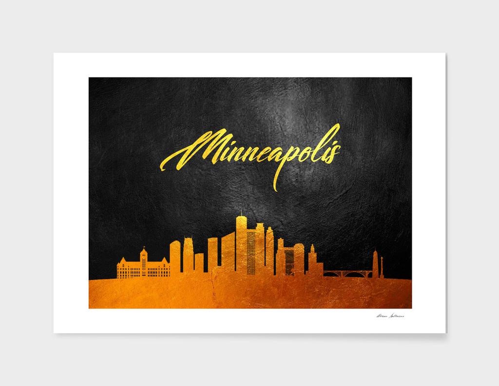 Minneapolis Minnesota Gold Skyline