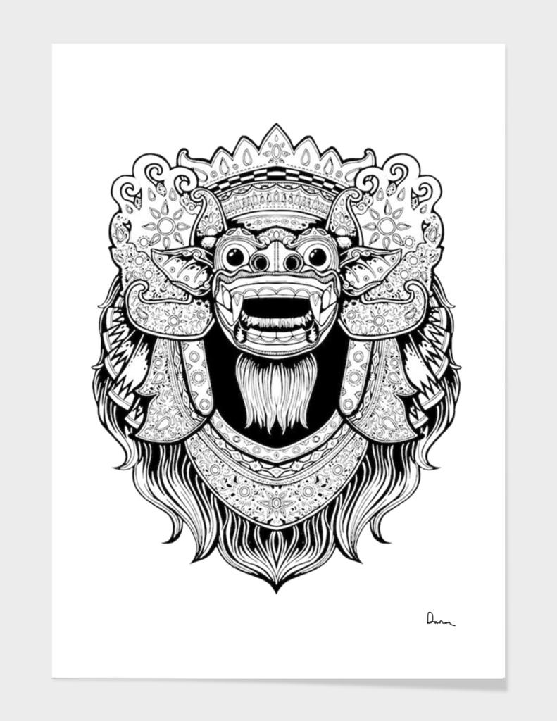 Balinese art barong drawing bali