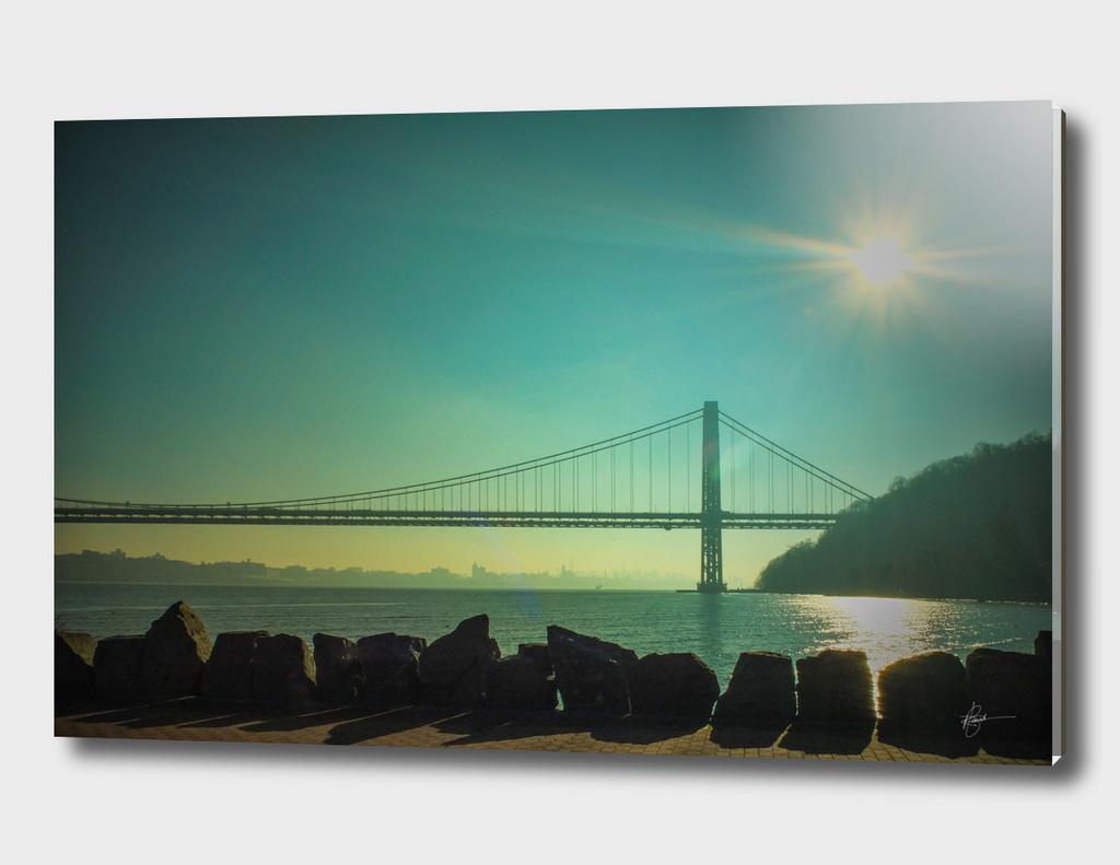 The George Washington bridge on a hazy afternoon