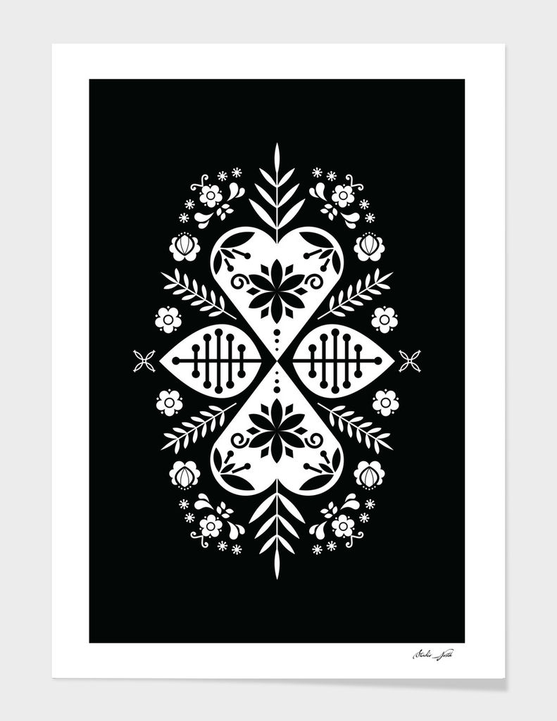Black and White Scandi Folk Pattern Art