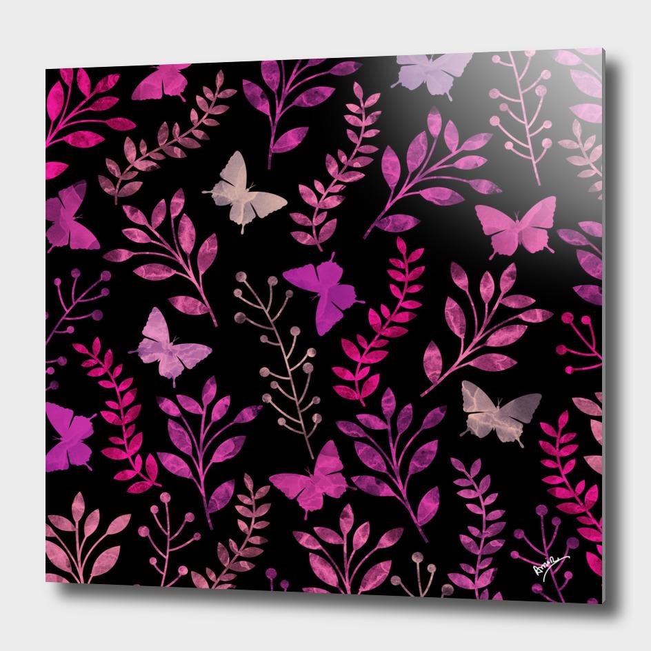 Watercolor Flowers & Butterfly III