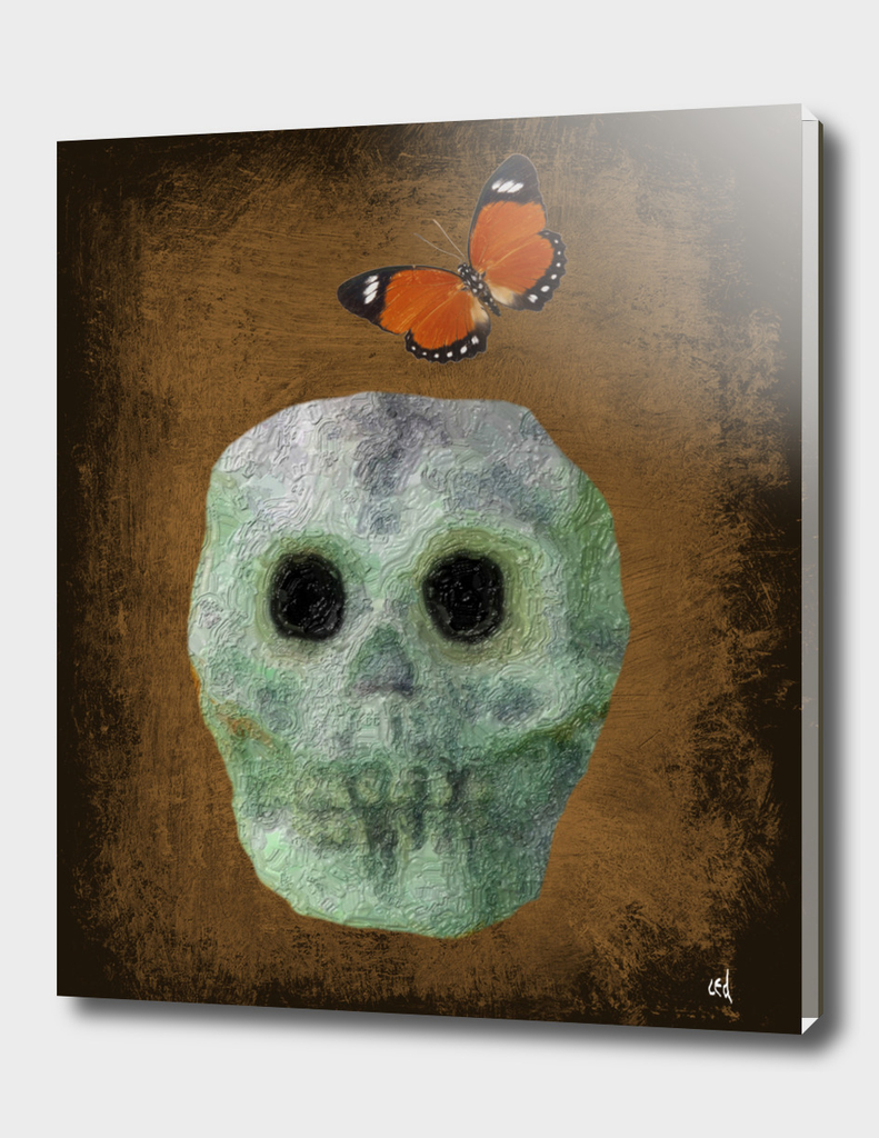 Primitive Skull on Bronze with Orange Butterfly