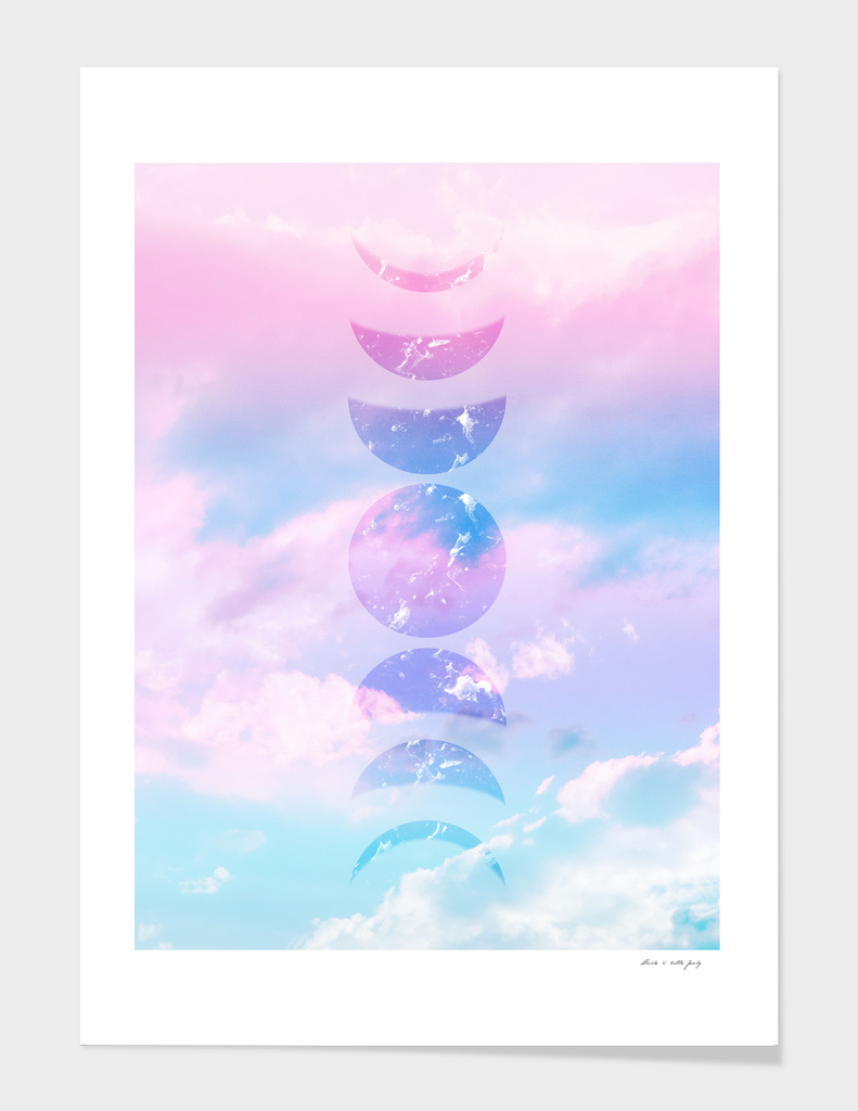 Unicorn Pastel Clouds Moon Phases #1 #decor #art