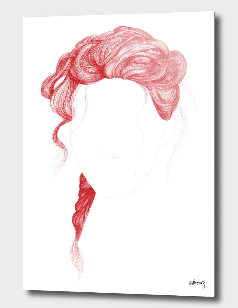 Red Lines Curved Aluminum Print By Andrea Mernjik