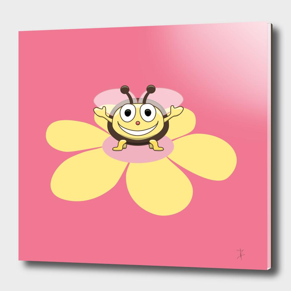 Happy Bee On Flower